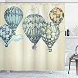 Ambesonne Vintage Shower Curtain, Hot Air Balloons in Soft Tones Fly in The Sky Air High Tourism Design Print, Cloth Fabric Bathroom Decor Set with Hooks, 84' Long Extra, Blue Green