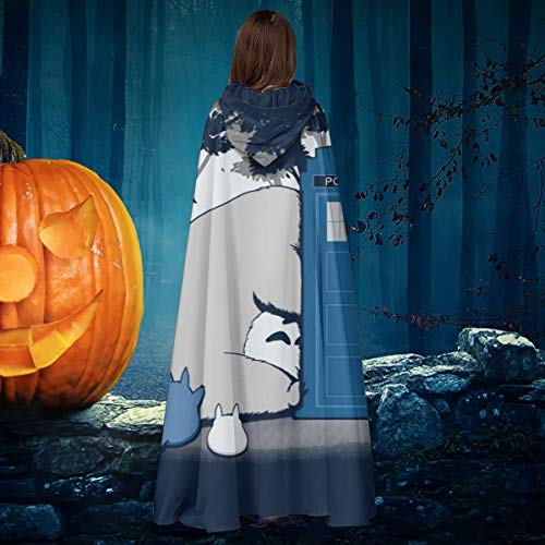 AISFGBJ Totoro Doctor Who Mix Curious Spirits Unisex Navidad Halloween Bruja Caballero con Capucha Albornoz Vampiros Capa Cosplay Disfraz