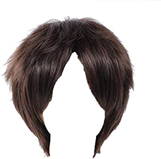 Male Short Fluffy Dark Brown Wig for Attack on Titan Anime Eren Jaeger Cosplay Synthetic Hair Wigs