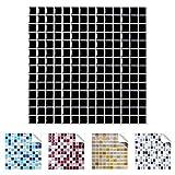 Wandaro 4er Pack 25,3 x 25,3 cm schwarz Design 8 I 3D Fliesenaufkleber Mosaik große Auswahl für Küche Bad Fliesenfolie selbstklebend Wandaufkleber W3329 -