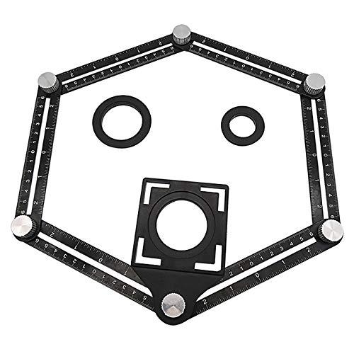 Prettyia Localizador de Orificios de Cerámica Plegable con Regla de Medición de Múltiples ángulos de Aleación de Aluminio