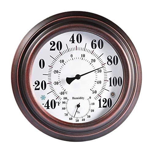 LQKYWNA 20cm Retro-Thermometer-Hygrometer, Antik Eisen Shell Temperatur und Feuchte-Messgerät für Innen Außen