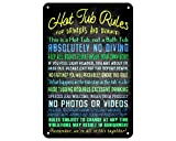 Casufay Hot Tub Rules for Drinkers and Dummies Vintage Retro Tin Sign Metal Sign Swimming Pool Sign Indoor/Outdoor Use Plaque 8×12 Inch