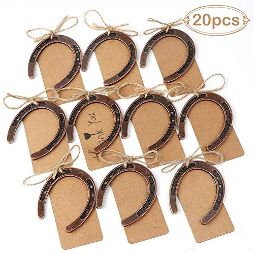 Aparty4u - 20 piezas de herradura de boda con etiquetas, herradura de la suerte, regalos para aniversario, fiesta, campo, decoración de Navidad para boda