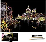 Scratch Art Rainbow Painting Paper, Blocco da disegno Fai da te Night View Scratchboard per bambini e adulti, 16 `` x 11,2 '' con 3 strumenti (Water City Venice)
