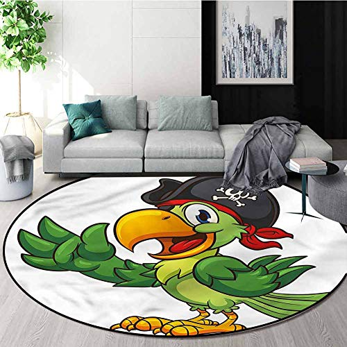 Find Bargain RUGSMAT Pirate Modern Machine Washable Round Bath Mat,Cartoon Parrot and Eye Patch Area...