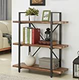 Homissue 3-Tier Industrial Bookcase and Book Shelves, Vintage Wood and Metal Bookshelves, Retro Brown