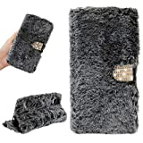 Plush Wallet Case for LG Stylo 5, Girlyard Fluffy Soft Faux Rabbit Fur Bling Diamond Buckle PU Leather Flip Stand Cover with Card Holder Cute Furry Phone Case for Women - Dark Gray