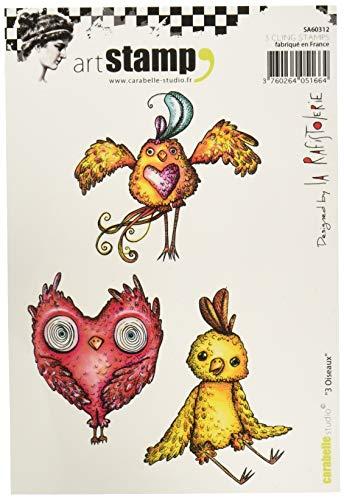 Carabelle Studio Art 3 Vogels Cling Stempel voor Embossing Projecten, Kaarten Maken en Scrapbooks