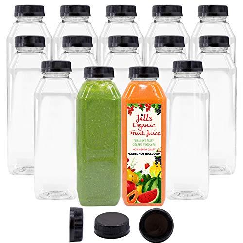16 OZ Empty PET Plastic Juice Bottles - Pack of 14 Reusable Clear Disposable Milk Bulk Containers with Black Tamper Evident Caps Lids