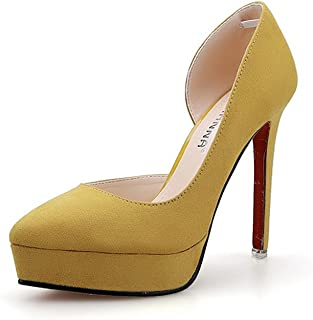 TOOSBUY Women's Sexy D'Orsay Pointed Toe Platform Thin Heel Pump Shoes
