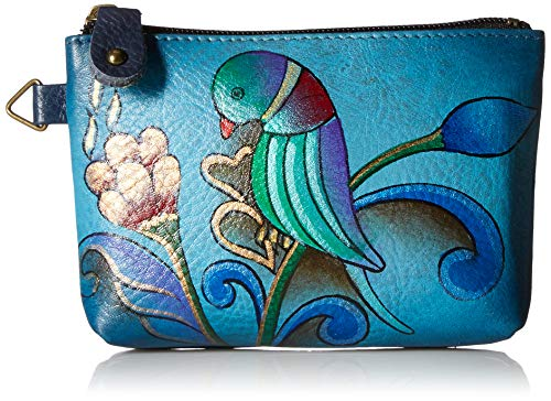 Anna by Anuschka Hand Painted Leather Women's Coin Pouch, portuguese parrot denim
