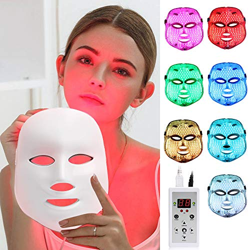 LED Face Mâsk Light Therapy | 7 Color Skin Rejuvenation Therapy LED Photon Mâsk Light Facial Skin Care Anti Aging Skin Tightening Wrinkles Toning Mâsk