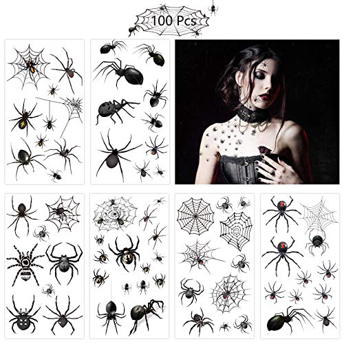 ZERHOK Tatuajes Temporales Arañas,12 hojas Calcamonias para Niños Tatuajes Telarañas Pegatinas del Tatuaje de Araña para Mascarada de Halloween Carnaval Fiesta Punk Regalo para Niños