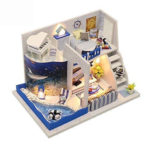 LERDBT Puppenstuben DIY Miniatur-Room Set-Holzhandwerk Haus Crafts Villa mit Pool Modell beständiger gegen Staub (Color : Multi-Colored, Size : 11.5x17x10.8cm)