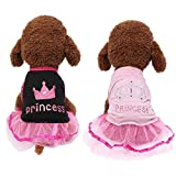 Yikeyo Small Dog Girl Dress Pet Puppy Lace Princess Tutu Shirt Clothes Summer (Pink+Black, Small)