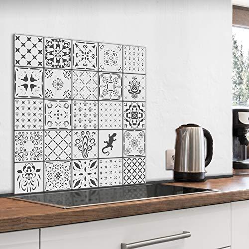 murando Spritzschutz Glas für Küche 60x60 cm Küchenrückwand Küchenspritzschutz Fliesenschutz Glasbild Dekoglas Küchenspiegel Glasrückwand Fliesen Mosaik - f-B-0295-aq-a