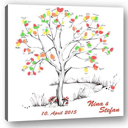 galleryy.net Hochzeitsbaum Fingerabdruck 40x40 mit Namen & Datum - INKL Zubehör-Set (Stempelkissen+Stift+Anleitung+Hochzeitsbuch+...) GRATIS - Wedding Tree Zeichenstil - Hochzeitsbaum Fingerabdruck