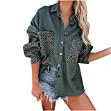 RFNIU Womens Shirts Fall Fashion Loose Plus Size Leopard Color Block Buttons Down Blouses with Pockets Long Sleeve Tops Green