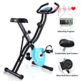 ANCHEER Excerise Bike, Folding Exercise Bike with App Program, Compact Recumbent Total Body Workout Bike with Tablet Stand & Large and Comfortable Seat (Blue)