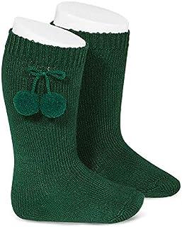 Calcetines altos LISOS de algodón verde botella cálido con borlas, de Cóndor