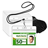 EcoEarth Lanyard with Horizontal ID Badge Holder (Black, 3.5x2.25 Inch, 50 Pack), Resealable Clear Tag & Lanyards, Lanyard ID Card Holder Bulk, Name Badge Lanyard Set, Plastic Badge Holder w/ Zipper