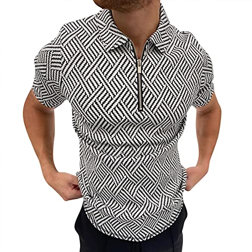 Men's Classic Short Sleeve Polo Shirt Zip Up Casual Summer Slim Fit T-Shirts Striped Graphic Printed Tops Beach Tees