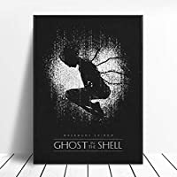 シェルの幽霊ブラックホワイトクラシック映画ポスター壁アート画像キャンバスポスターとプリントHDプリント油絵壁画リビングルーム家の装飾フレームレス
