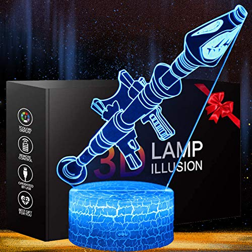 Rocket Launcher LED Night Lamps Fort-nited Battle Royals 3D Mood Light 7 Color Changing Bedroom Home Decor Luminaries Kids Gifts (Rokter Launcher)