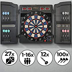 Physionics electronic dart board - 27 games, 159 game variants, incl. 12 darts, 100 spare arrow heads and power supply, 16 players - LED display dart board, dart machine, dart game, darts
