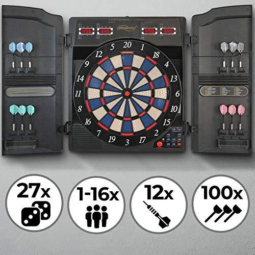 Physionics Elektronische Dartscheibe - 27 Spiele, 159 Spielvarianten, inkl. 12 Dartpfeile, 100 Ersatz-Pfeilspitzen und Netzteil, 16 Spieler - LED Anzeige Dartboard, Dartautomat, Dartspiel, Darts