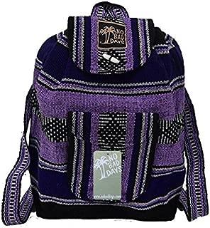 Baja Backpack Ethnic Woven Mexican Bag - Lavender Purple Black White - Medium