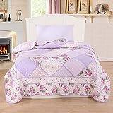 Alicemall Copriletto, coperta da soggiorno, estivo, in cotone, trapuntato, patchwork, per letto singolo, 150 x 200 cm, Cotone, Motivo 3., Singolo