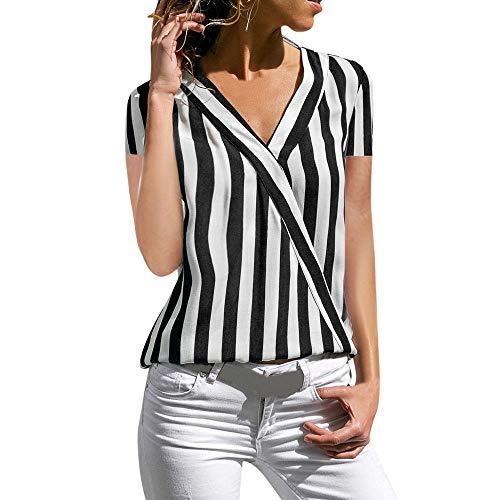 Momoxi Camicia da Donna, Maglietta A Maniche Corte da Ufficio Irregolare A Manica Corta da Donna Top Estivo Sexy con Scollo A V