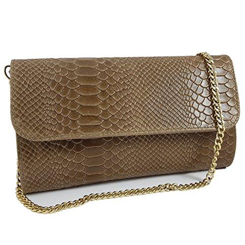 Freyday Echtleder Damen Clutch Tasche Abendtasche Muster Metallic 25x15cm (Taupe Snake)