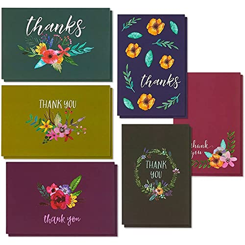 Blank Thank You Cards and Envelopes, 6 Floral Jewel Toned Designs (4 x 6 In, 48 Pack)