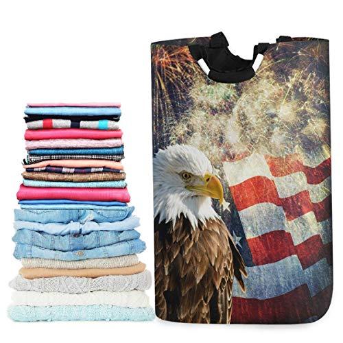 JULOE Plegable Cestas de Ropa Águila Bandera Americana Cesto para la Colada Impermeable Bolsa Bin Cesto Juguete Organizador 50L