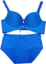 Nightwear Lingerie Seamless Honeycomb Cup Breathable Bra Small Chest Gather Adjustable Underwear No Rims Sexy Female Suits Underwear (Color : Blue suit, Size : 70C)