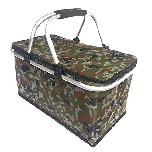 Gulin - Bolsa térmica plegable para exteriores, 30 L, ideal para camping, festivales, actividades al aire libre, camuflaje, para actividades al aire libre