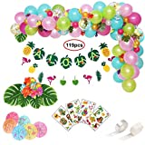 119pcs Hawaiian Party Decorations, Leyzan Premium Luau Party Supplies, Aloha Flamingo Pineapple Banner, Leaves, Hibiscus Flowers, Balloon Garland, Cocktail Umbrellas, Tattoos for Tropical Summer party