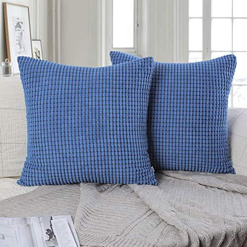 HETOOSHI Juego de 2 Pana Suave Cuadrado Grueso Decorativa Fundas de Almohada,Poliéster Duradero Decoración para Sofá Dormitorio Coche (Azul, 50 x 50 cm)