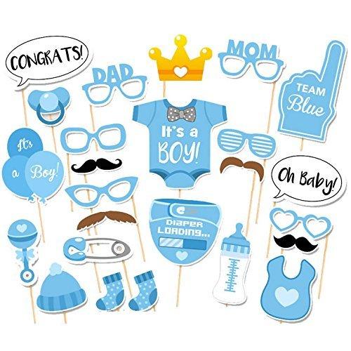 Veewon 25 Stück Babydusche Foto Props Baby Flasche Masken Fotorequisiten Neugeborene Junge Partydekoration