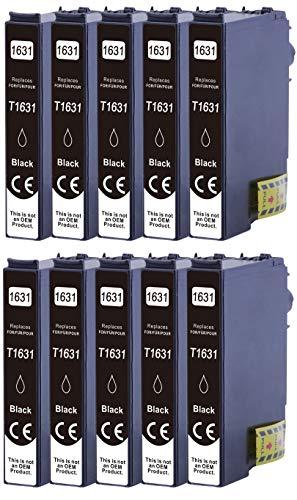 10 cartuchos de tinta XL compatibles con Epson T1631 Nr.16 Nr.16XL para Epson Workforce WF-2010 WF-2510 WF-2520 WF-2530 WF-2540 WF-2630 WF-2650 WF-2660 WF-2750 WF-2760