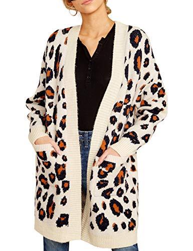 Cardigan Donna Invernale Leopardato Maglione Tasca Manica Lunga con Spalle Scoperte Maglione Moda di Media Lunghezza Sottile