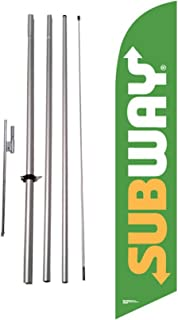 Subway Advertising Feather Banner Swooper Flag Sign with Flag Pole Kit and Ground Stake, Updated Green Logo