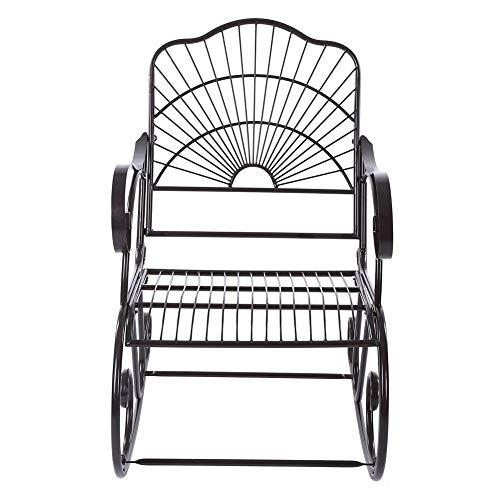 Pissente Schaukelstuhl aus Eisen, 1 Sitz, Retro-Stil, einzelner Eisen, Schaukelstuhl, antiker Stil, Gartenmöbel für Erwachsene, Outdoor, Terrasse, Hinterhof, Park, Innenbereich