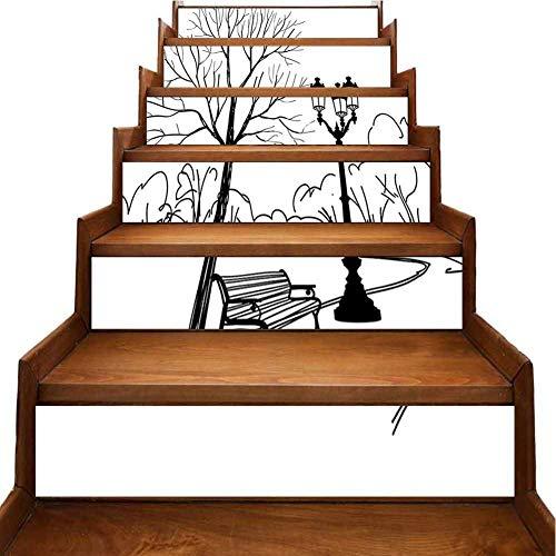 Calcomanías para escaleras, fondo de pantalla paisaje invernal con un árbol en campo nevado y bosque nevado pegatinas autoadhesivas de cocina para muebles reacondicionados,, Morado-10, 7'x39.3'x6pcs