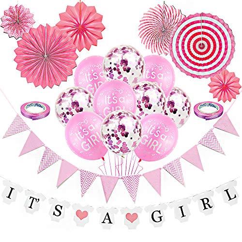20 pcs Babyparty Dekorationsset, einschließlich IT'S A GIRL Banners, einer rosa Papier Wimpelkette, 2 pcs rosa Bandes, 10 pcs Latexballons und 6 pcs Papierfächer für die Partydekoration für Mädchen