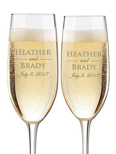 Custom Engraved Wedding Champagne Toasting Flutes - Personalized Wedding Glasses for Bride and Groom or Couple with First Names and Wedding Date | Set of 2