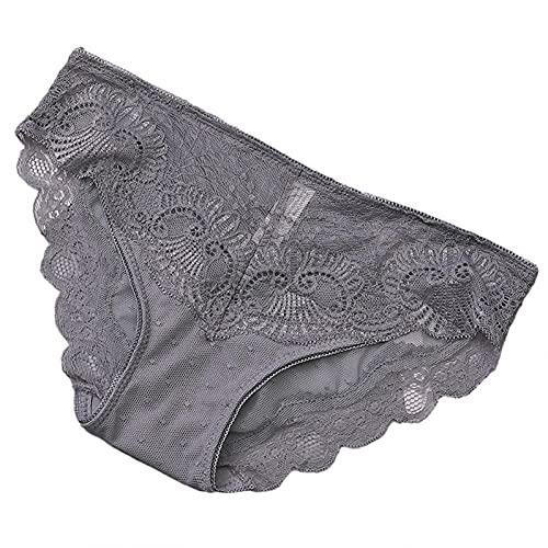 Esque Bragas Huecas De Encaje para Mujer- Sexy Y Transpirable- Ultra Finas Suaves-Mujeres Transparente Moda Ropa Interior-Mujer Bata Dormir Interior Sleepwear -Gris-XL
